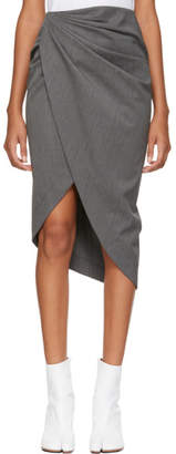 Helmut Lang Grey Wool Draped Skirt