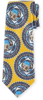 Ermenegildo Zegna Floral Medallion Jacquard Tie, Yellow $195 thestylecure.com