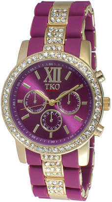 JCPenney TKO ORLOGI Womens Crystal-Accent Purple Dial Multifunction-Look Bracelet Watch