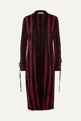 McQ Lace-up Striped Cotton Cardigan