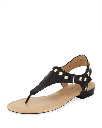 Neiman Marcus Yolene Studded Calf Sandals, Black/Gold