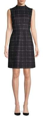 Ellen Tracy Plaid Mockneck Fit-&-Flare Dress