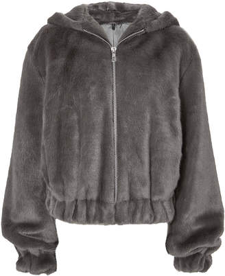 Helmut Lang Grey Faux Fur Hooded Bomber Jacket