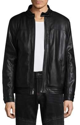Karl Lagerfeld Men's Solid Motorcycle Jacket