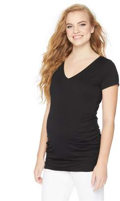 Motherhood Maternity V-neck Side Ruched Maternity Tee- Solid
