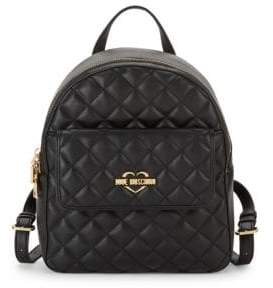 Love Moschino Quilted Faux Leather Backpack