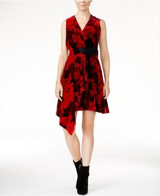 RACHEL Rachel Roy Draped Velvet Fit & Flare Dress, Only at Macy's $159 thestylecure.com