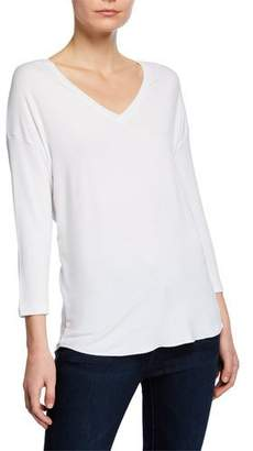 Neiman Marcus Majestic Paris for V-Neck 3/4-Sleeve High-Low Sweatshirt