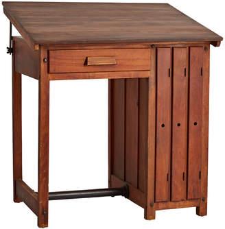 Rejuvenation Handsome Maple Drafting Desk w/ 3 Vertical Shelves