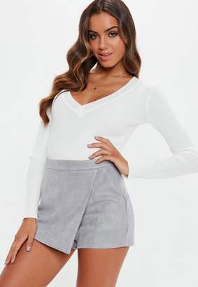 Missguided Grey Faux Suede Wrap Skort