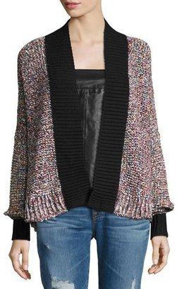 Zadig & Voltaire Tanya Open-Front Cardigan, Black/Multicolor $398 thestylecure.com