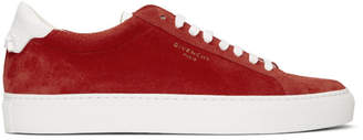 Givenchy Red and White Suede Urban Knots Sneakers