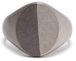 Maison Margiela Two Tone Silver Signet Ring - Mens - Silver Multi