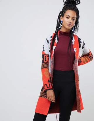 Esprit geo-tribal print cardigan in red