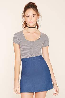 Forever 21 Striped Scoop Neck Tee
