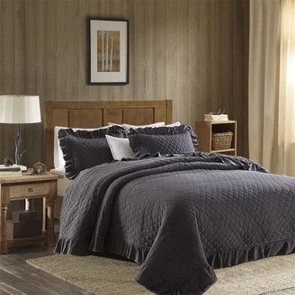 Unbranded Classic Living Vintage-Inspired Stonewashed Solid-Color Quilt Set (3-Piece) Full/Queen