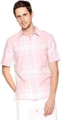 Isle Bay Linens Men's Short Sleeve Plaid Standard Woven Hawaiian Shirt XL
