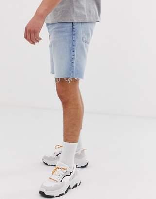 Bershka slim fit denim shorts with raw hem in light blue