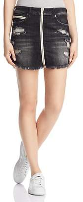 True Religion Denim Zip Skirt in Garter Black