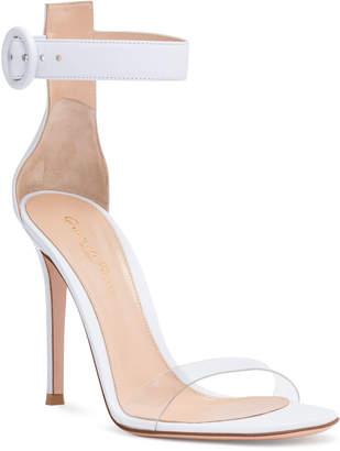 Gianvito Rossi Stella 105 White Plexi Leather Sandals