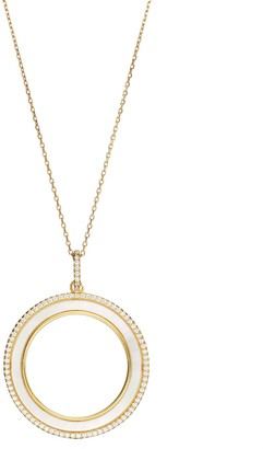 Sterling Silver Mother-of-Pearl & Cubic Zirconia Circle Pendant