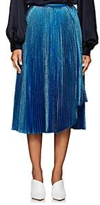 Cédric Charlier Women's Metallic Pleated Midi-Skirt - Blue