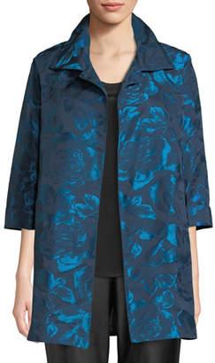 Caroline Rose Blue Becomes You Floral Jacquard Party Jacket, Plus Size