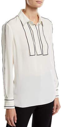 Tory Burch Long-Sleeve Silk Blouse w/ Contrast Trim