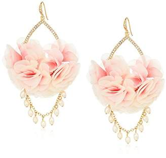 Carolee Petals and Pearls Collection Women's Fabric Flower Drama with Freshwater Pearl Drop Earrings