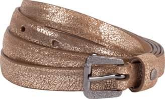 Brunello Cucinelli Metallic Diamond Buckle Skinny Belt