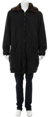 Giorgio Armani Fur-Trimmed Zip-Up Coat