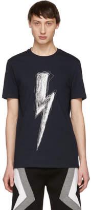 Neil Barrett Navy Scribble Lightning Bolt T-Shirt