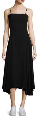 McQ Alexander McQueen Flared Fluid Open-Back Midi Dress, Black $625 thestylecure.com