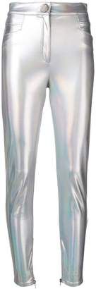 Balmain coated holographic trousers