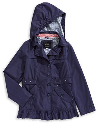 London Fog F.O.G. BY Embroidered Long-Sleeve Coat