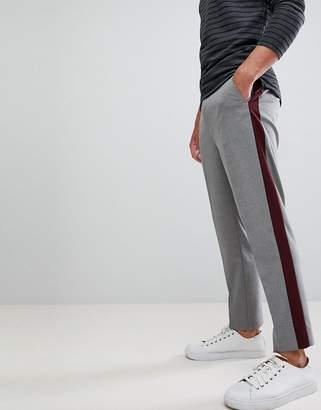 Asos Design DESIGN tapered crop smart pant with burgundy side stripe