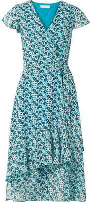 MICHAEL Michael Kors Springtime Floral-print Georgette Wrap Dress - Turquoise