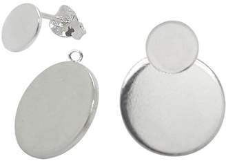 Lucy Ashton Jewellery - Large Circle Disc Stud Earrings & Ear Jackets Sterling Silver