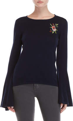 Central Park West Calabasa Rose Embroidered Sweater