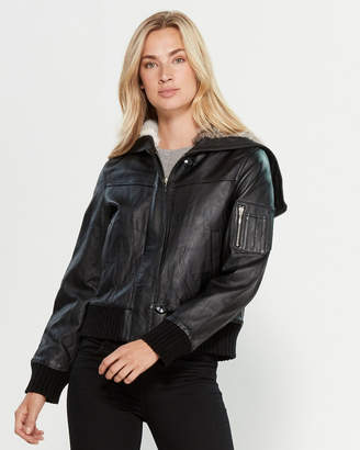 Intuition Paris Real Fur-Lined Hooded Leather Bomber Jacket