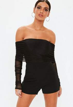 ce4c8019bfb Missguided Black Bardot Mesh Ruched Long Sleeve Playsuit
