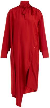 Valentino Tie-neck asymmetric silk dress