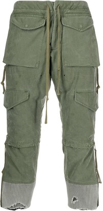 distressed cropped cargo pants