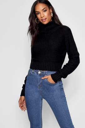 boohoo Tall Soft Knit Rill Neck Crop Jumper