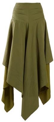 Loewe Handkerchief Hem Linen And Crepe Skirt - Womens - Dark Green