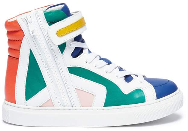 Colourblock leather high top kids sneakers