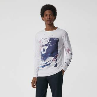 Burberry Portrait Print Cotton Top , Size: L, White