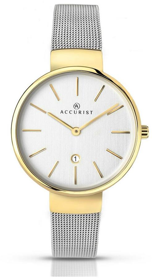 Accurist Date Dial 2 Tone Mesh Bracelet Ladies Watch