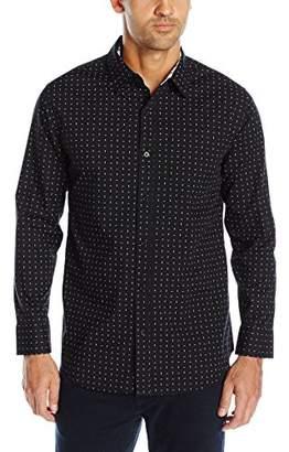 Geoffrey Beene Men's Printed Poplin Woven Shirt, XL