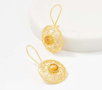 Artisan Crafted 14K Gold Round Filigree Gemstone Drop Earrings